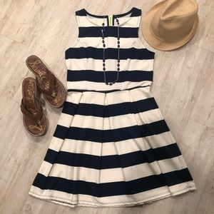 Xhileration Navy and Cream Striped Pleated Dress M
